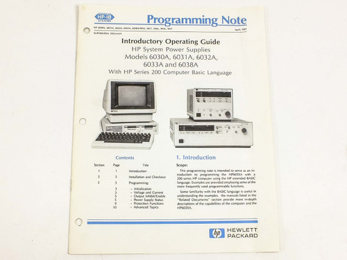 HP 6030A, 6031A, 6032A, 6033A, 6038A  Programming Note