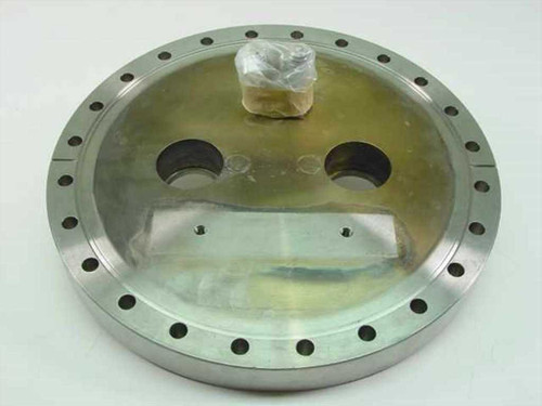 "MDC Vacuum  Flange 10"" OD 8 5/8"" ID to two 1 1/2"" holes"
