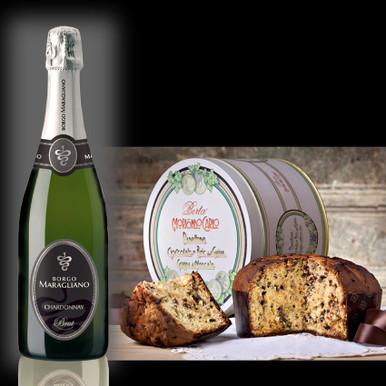 Confezione Regalo Chardonnay Brut e Panettone al Cioccolato alla Grappa