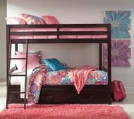 Halanton Dark Brown Twin/Twin Bunk Bed with Under Bed Storage