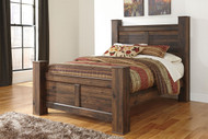 Quinden Dark Brown Queen Poster Bed