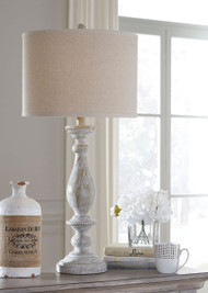 Bernadate Whitewash Poly Table Lamp (2/CN)