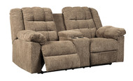 Workhorse Cocoa Double Reclining Loveseat with Console