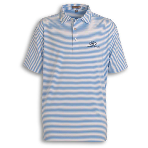 A370 Peter Millar Lt Blue Striped Polo