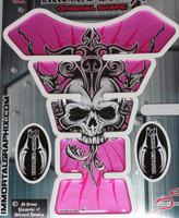 Skull Sun Pink Silver Metallic