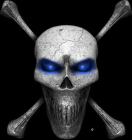 Digital Skull and Crossbones Blue Wall Decal