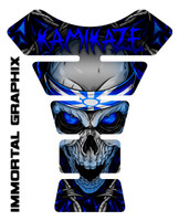 Kamikaze Skull Blue Motorcycle Tank Pad Protector