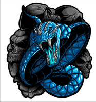 Snake Blue Vinyl Decal Graphic.  These stickers are laminated and cut to the exact shape so these will not scratch or fade