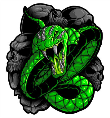 Green snake motorcycle sticker superior quality vinyl decals mirror imaging for the stickers when