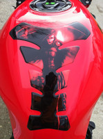 She Reaper Red Stretch Design Motorcycle Tank Pad
