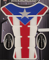 Puerto Rico Flag Metallic Motorcycle Tank Pad Protector