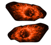 Exploding Skull Orange Motorcycle Side Tank Protectors