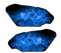 Flaming Fire Rose Blue 3D Gel Motorcycle Side Tank Protectors