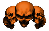 5 Skull Orange Decal Sticker