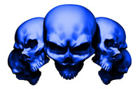 5 Skull Blue Decal Sticker
