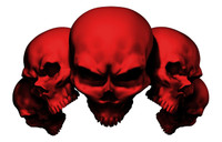 5 Skull Red Decal Sticker