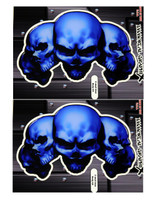 5 Skull Blue 3D Gel Decal Sticker set