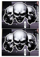 5 Skull White 3D Gel Decal Sticker set