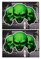 5 Skull Green 3D Gel Decal Sticker set