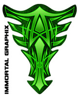 Extreme Pinstripe Green Motorcycle Tank Pad protector