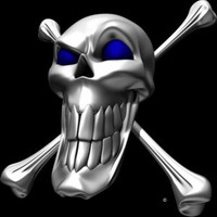 Digital Chrome Skull and Crossbones Blue