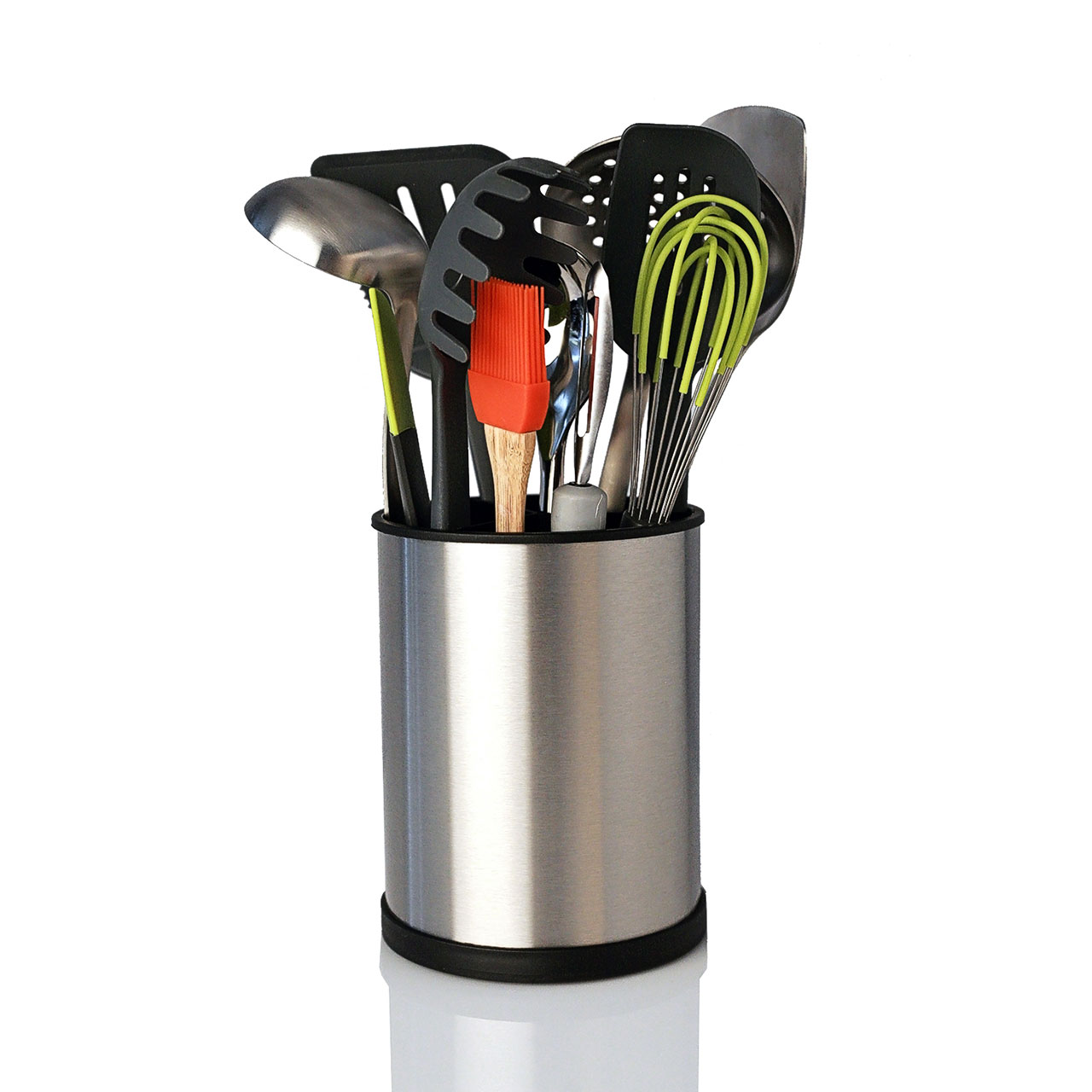 Stainless steel rotating utensil holder kapoosh ary for Kitchen utensil holder