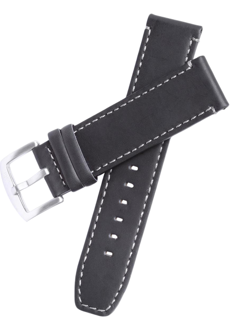 Xeric 22mm Black Leather Strap with Stitching (XS3020-STRAP)