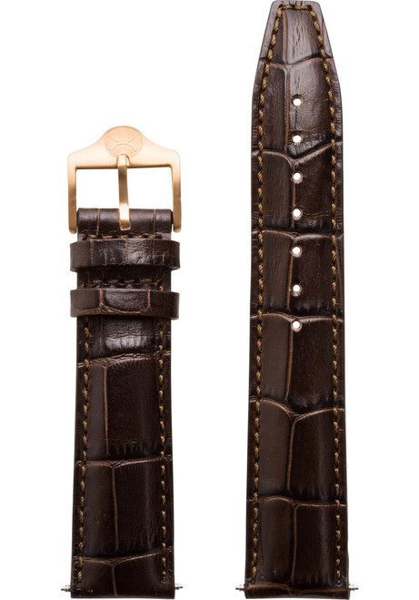 Xeric 20mm Italian Croc Full Stitched Brown Leather Strap (XRC-EGA-20-BRRG)