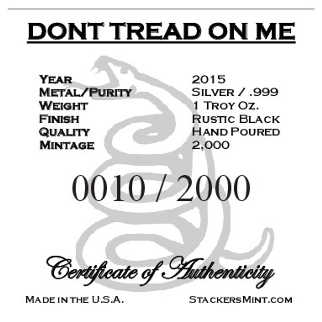 """(5x) 1 oz Hand Pour Silver Bar STACKERS MINT Series """"DONT TREAD ON ME"""" 2015"""