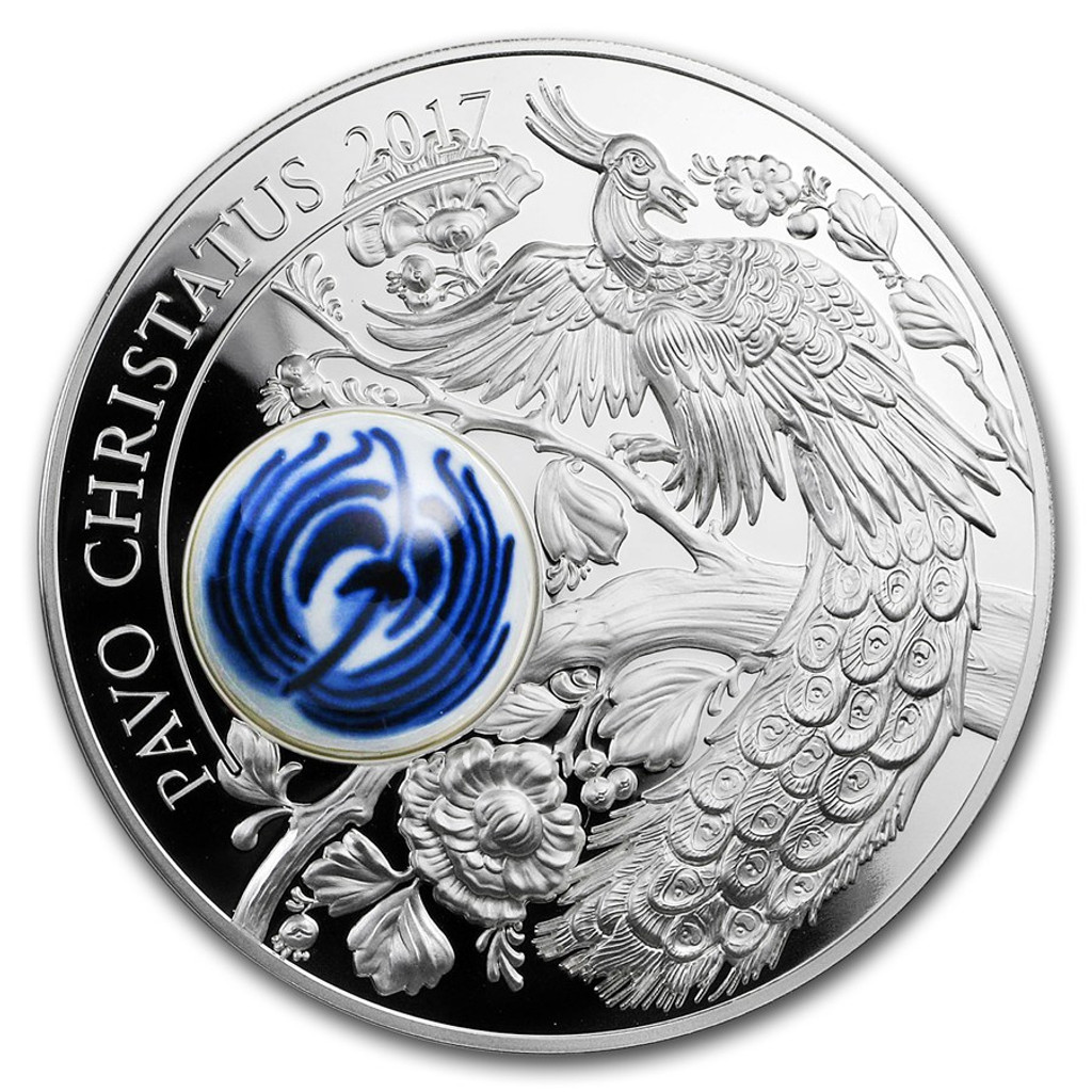 2017 ROYAL DELFT PEACOCK Pavo Cristatus Porcelain Silver Coin 10$ Cook Islands