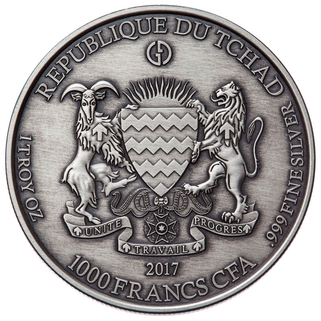 "2017 Gargoyles & Grotesques ""DECAY"" Silver Coin Tchad 1000 Francs ANTIQUED"