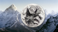 2017 MT EVEREST Mount 7 Summits Asia Himalayas 5 Oz Silver Coin 25$ Cook Islands