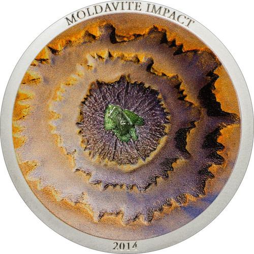 2014 MOLDAVITE IMPACT Silver Coin Cook Islands $5 Meteorite Series