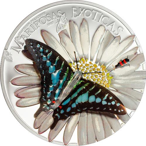 """2015 Exotic Butterflies 3D Silver Coin """"Swordtail"""" Equatorial Guinea 1000 Francs"""