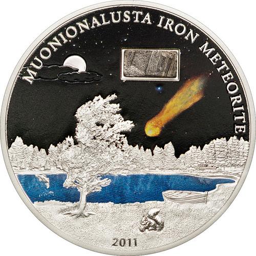 2011 MUONIONALUSTA IRON METEORITE Silver Coin 5$ Cook Islands