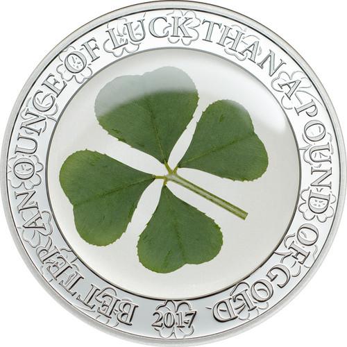 2017 Palau $5 Proof Silver Coin Four Leaf Clover - Ounce of Luck
