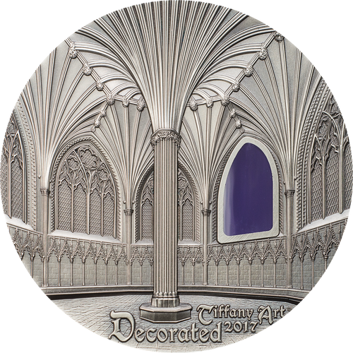 2017 TIFFANY ART - DECORATED Wells Cathedral $10 2oz Glass & Silver Coin - Palau