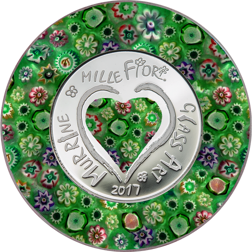 2017 Murrine Millefiori Glass Art Venetian Murano $5 Silver Coin - Cook Islands