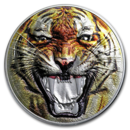 2017 ROYAL BENGAL TIGER Rare Wildlife 2 oz .999 Silver Proof Coin - Tanzania