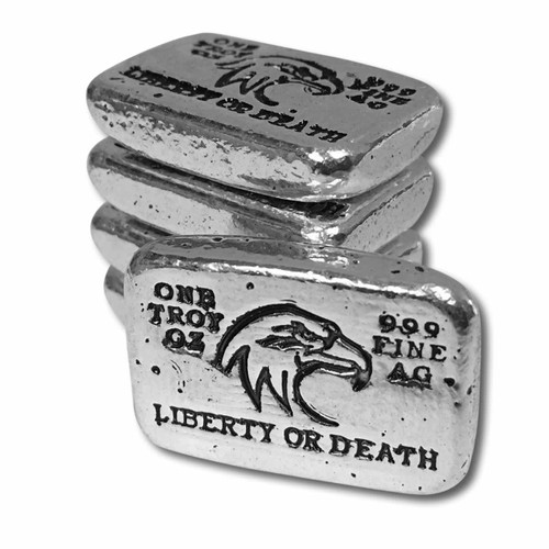 "(5x) 1 oz Hand Pour Silver Bar STACKERS MINT Series ""LIBERTY OR DEATH"" 2017"