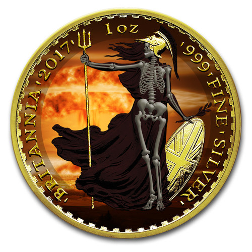 2017 BRITANNIA  Armageddon Skeletal Edition Colorized 1oz Silver coin COA £2