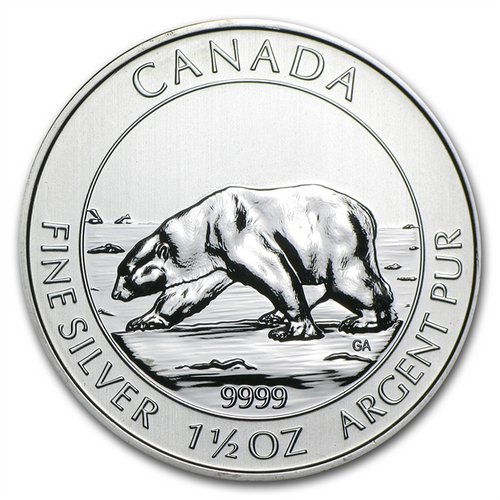 2013 1.5 oz Silver Canadian $8 Polar Bear