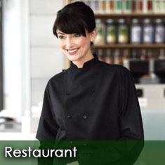 Restaurant uniforms for waitstaff and kitchen crew