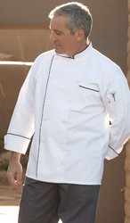 White with black piping chef coat