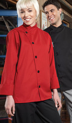 This chef coat has no pockets which gives a very sleek look