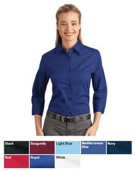 Wrinkle resistant 3/4 sleeve uniform top for women