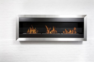 Bio-Blaze Square XL II Wall Mount Ethanol Fireplace w/glass