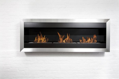 Bio-Blaze Square XL II Wall Mount Ethanol Fireplace w/glass