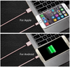 The cable attaches android or iphone devices. The cable attaches to both. the plug remains in the device. No more fumbling!  pink cable featured n/a. Comes in Black, Gold and Silver