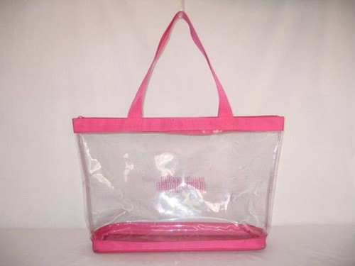 "Hot Pink Clear Tote  22"" zipper 18"" x 14"" x 6""  fits Deluxe Handy Caddy"